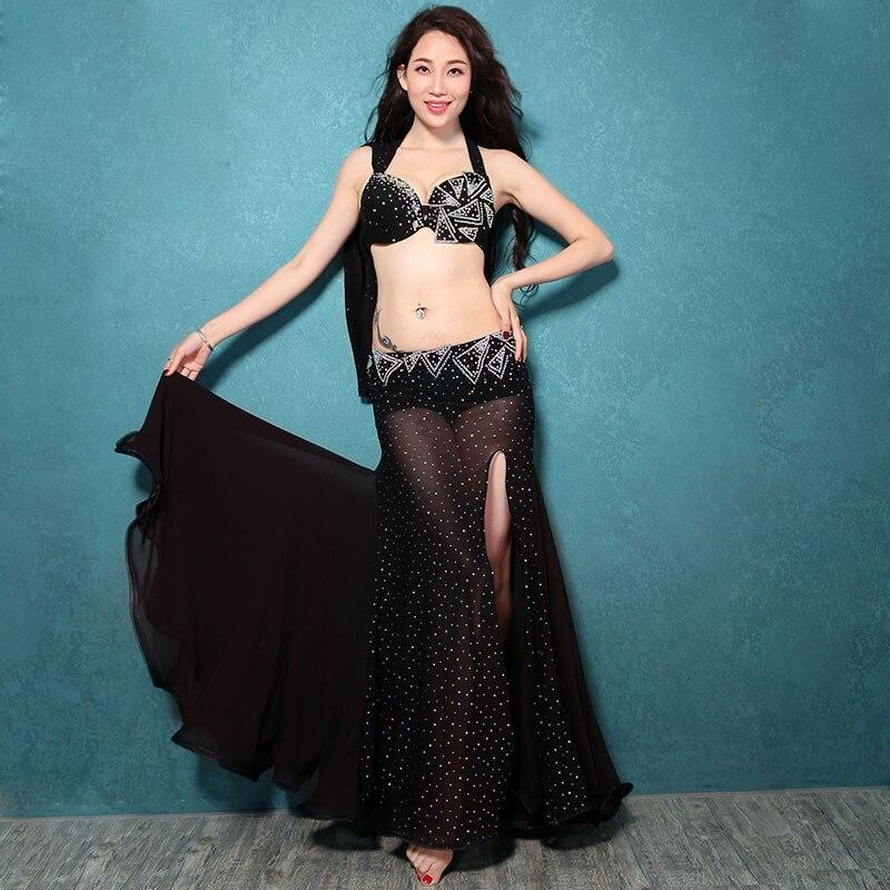 Настроить Для женщин Танец Живота Практике носить длинные юбки Костюмы пикантные сценическое платье Одежда для танцев 2 шт набор DWY728