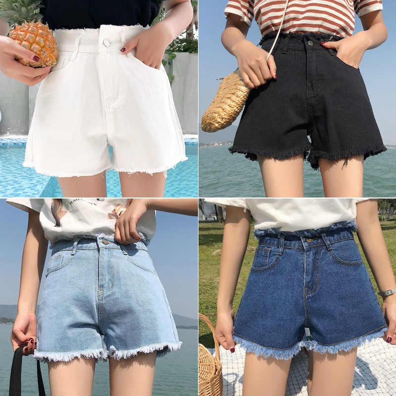 Gkfnmt ג 'ינס נשים סקסי מכנסיים קצרים 2019 קיץ ישר רופף מכנסיים בתוספת גודל גבוהה מותן ג' ינס קצר שחור לבן אופנה