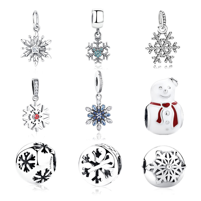100  authentic 925 sterling silver winter snowflake pendant charm fit original pandora beads