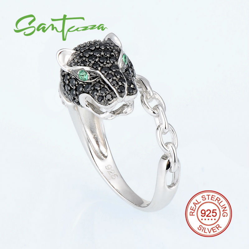 Silver Leopard Rings for Woman Black Spinels Cubic Zirconia CZ Stones Women Rings Pure 925 Sterling