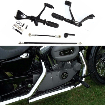 For Sportster XL1200 XL883 Forward Controls Foot Pegs Levers Footrest Footpeg Linkages XL 883 1200 Iron Custom Superlow 2 style forward control foot pegs kit linkage levers for harley sportster 883 iron 09 13 custom 2004 2013 roadster motorcycle
