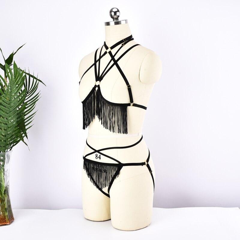 Комплект нижнего белья, комплект из двух предметов, регулируемый бюстгальтер на бретельках, трусики с бахромой, бюстгальтер с поясом
