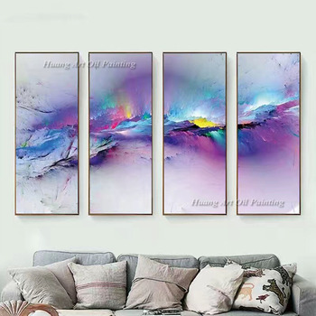 2018 New Hand Painted Abstract 4P Color Oil Painting on Canvas For Living Room Decor Modern Group of Purple Landscape Paintings