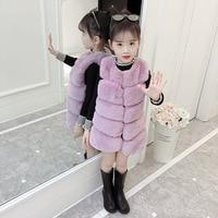 Dollplus Girls Fur Vest 2019 Winter Waistcoat for Girls Solid Kids Jackets Spring Autumn Kids Outerwear Warm Girl Clothes 4 10T