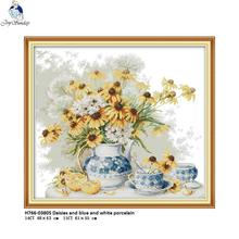 Joy Sunday Daisies and Blue White Porcelain Pattern Cross Stitch kits DIY Handwork 14CT 11CT For Embroidery Home Decor
