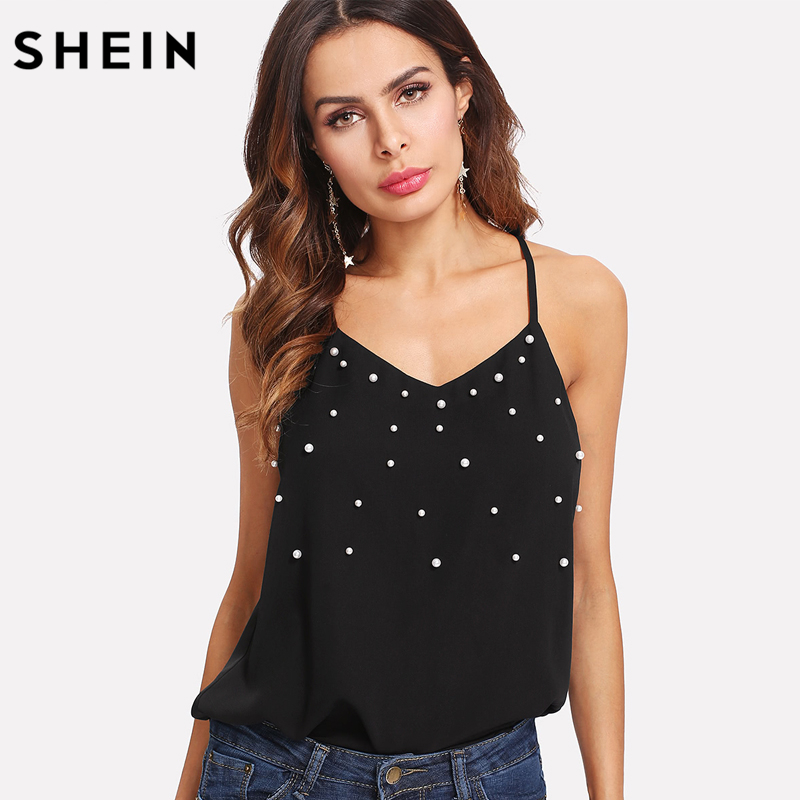 SHEIN Pearl Embellished Cami Top 2018 Summer Womens Sleeveless Top Black V Neck Women Spaghetti Strap Regular Fit Wear