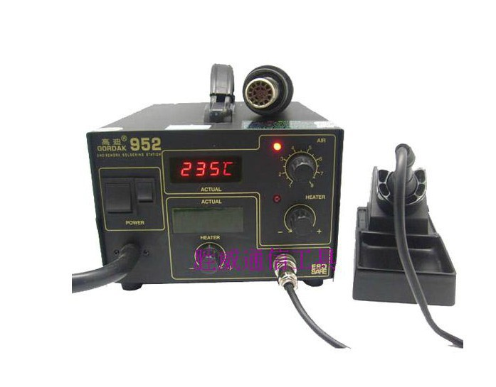 270W Gordak 952 soldering station + hot air heat gun 2 in 1 SMD BGA rework station 1pc gordak high quality 220v 110v gordak 952 2 in 1 desoldering station hot air gun soldering iron