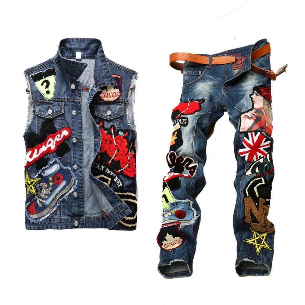 Men Clothing Set Motorcycle 2019 Autumn Sequin Embroidery Beauty Letter Denim Sets Mens Turn Down Collar Vests+Pants Twinsets(China)