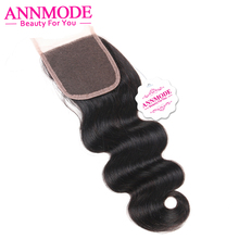 Annmode Peruvian Closure Body Wave 4 4 Free Part free shipping 100 Non remy Human