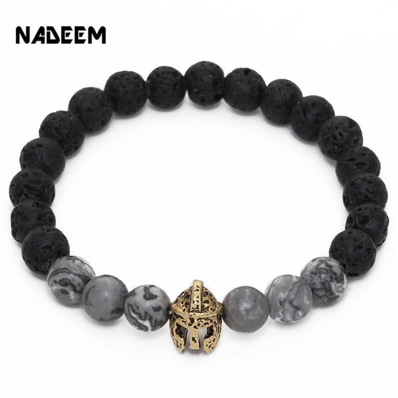 New fashion natural lava stones roman warrior gladiator helmet charm bracelet natural beads men elastic mala yoga bracelet