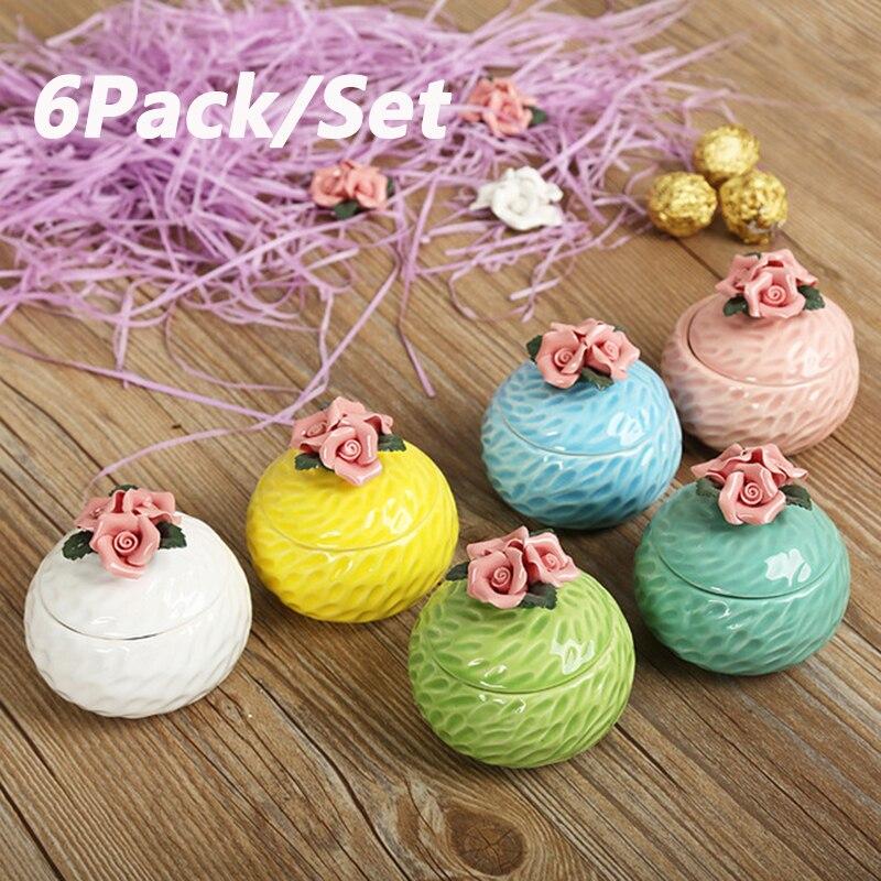 6 pièces céramique boîte cadeau boîte à bonbons paquet boîtes pour fête faveurs doux sacs boîte de mariage bijoux sac de rangement pour la saint-valentin