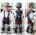 Бесплатная Доставка 2016 Новый Горячий Корейский мальчик ковбой буквы вышивка Сиамские брюки