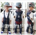 Free Shipping 2016 New Hot  The Korean boy cowboy letters embroidery Siamese pants