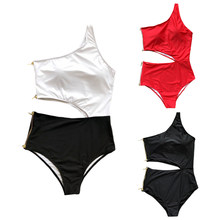Access Womens Sexy Bikini One Shoulder Cut Out Waist Monokini Solid Color Double-End Metal Zipper Closure Swimsuit High Waist dispense