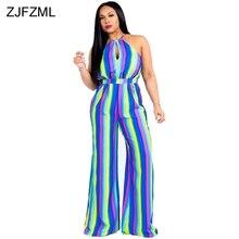 4c36a5b5a8d ZJFZML Off Shoulder Summer Jumpsuit Elegant Women Sleeveless Rainbow Vertical  Stripe Romper Casual Full Length Wide