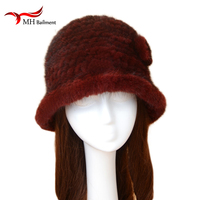 Russian Mink Knitted Hat Winter Women Knitted Mink Hat Thick Warm Hat Real Fur Glamor Brand Multicolor Fisherman's Hat H#51