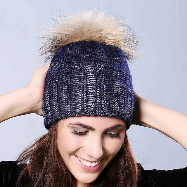 Women Ladies' Hat Genuine Raccoon Fur Pom Pom Thin Knitted Ball Hat Winter Cap Warm Vintage Fur Hats