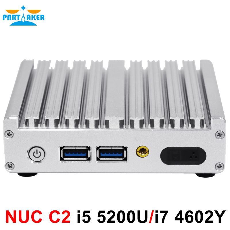 Fanless Partaker mini pc i5 5200U i7 4602Y DP,HDMI LAN three display pc free shipping
