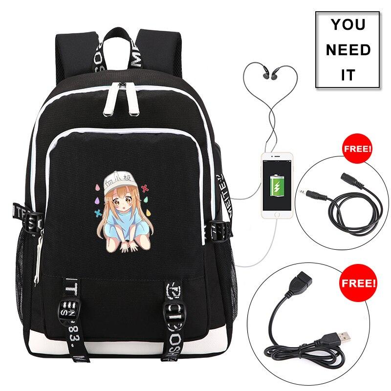 Haute qualité cellules au travail Hataraku Saibou impression sac à dos USB charge sac à dos pour ordinateur portable toile sacs d'école pour les adolescentes