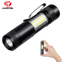 PANYUE 2018 Mini COB LED Flashlight Portable Lamp 800 lumens Pocket Work Light IP65 Torch with clip