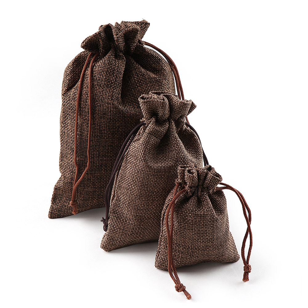Image 5 - 10PCS Christmas Linen Jute Drawstring Gift Bags Sacks Wedding Birthday Party Favors Drawstring Gift Bags Baby Shower Supplies-in Gift Bags & Wrapping Supplies from Home & Garden