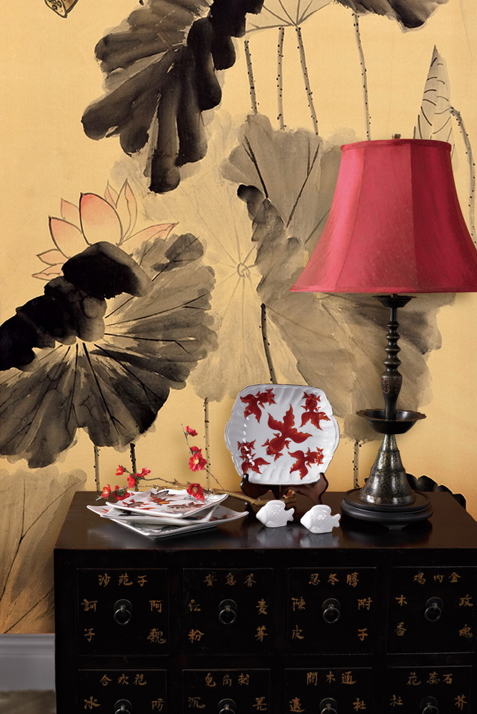 Hand-painted silk wallpaper painting lotus with birds hand painted wall paper wallcovering many pictures/backgrounds optional