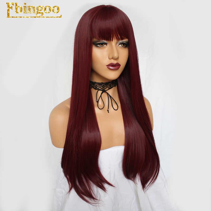 Ebingoo Cooper красный натуральный длинный прямой высокотемпературный парик из синтетического материала с плоской челка для женщин