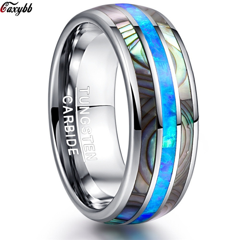 8mm Luxury Silver Tungsten Carbide Ring Blue Fire Opal & Shell Inlay For Men Women Wedding Engagement Ring Bague Homme