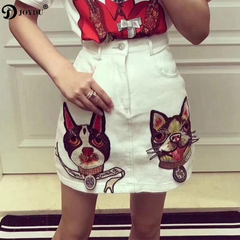 Bordado Jupe Joydu Black Saia Moda Perro Mujer 2018 Verano Jean Cintura Faldas white Vintage Denim Alta Falda Nueva Femenina 10xTq4n0Z