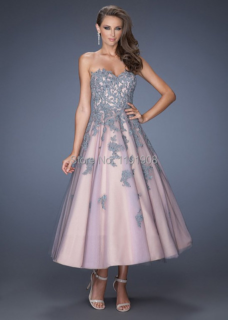 Vestido azul uрів±as rosas