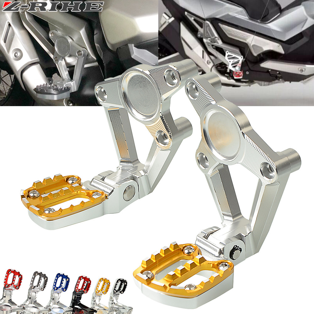 For HONDA X-ADV XADV X ADV 2017 Folding Rear Foot Pegs Footrest Passenger radiator grille guard Motorcycle accessories radiator protective cover radiator guard for honda x adv 750 2017 on black