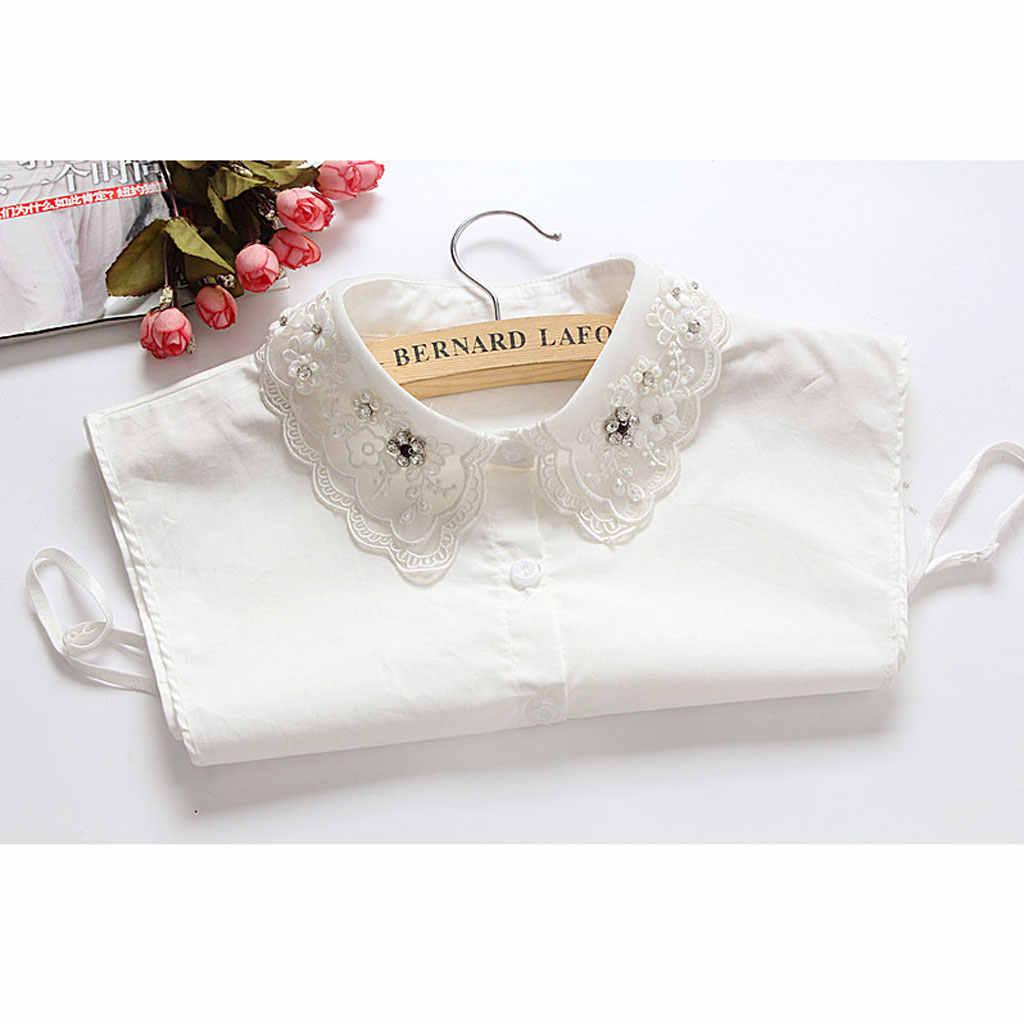 レディースハーフシャツ取り外し可能なブラウスフェイク襟白ビーズの装飾