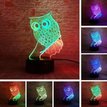 Creative 3D Illusion Mixed-Double-Color Animal búho LED escritorio luz de noche de Mesa 7 colores toque lámpara Kiddie niños familia Gif