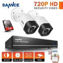 SANNCE 4CH 1080N HD DVR Kit CCTV System 2pcs 720P 1.0MP Security Cameras IR Outdoor IP66 CCTV Surveillance System 1TB HDD