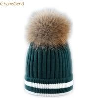 ChamsGend 2017 Hot Sale Fashion Outdoor Winter Hat Hair Ball Stripe Knitted Hat Women Hat Beanies