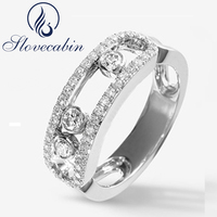 2017 New Collection Authentic 925 Sterling Silver Moved Stone Ring With Clear CZ For Women Engagement