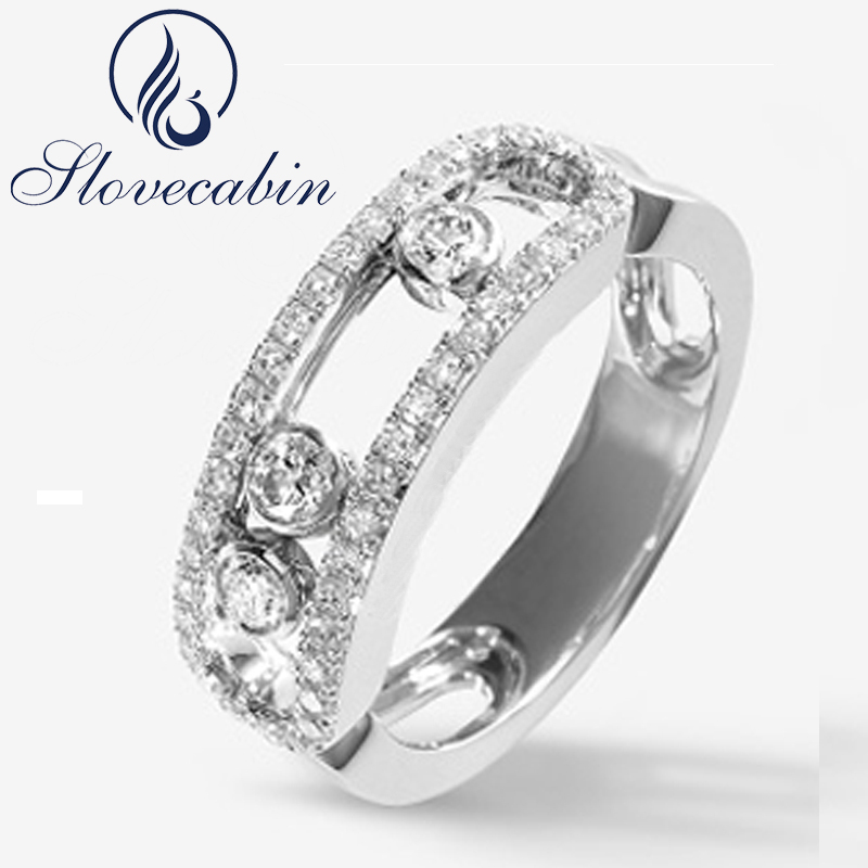 Slovecabin New Collection Authentic 925 Sterling Silver Moved Stone Ring With Clear CZ For Women Engagement Top Quality Jewelry