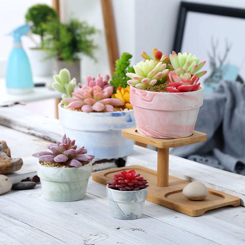 Ceramic Succulent Cactus Planter Pot Set Nordic Marbled Decoration Home Home Decoration Desktop Windowsill Bonsai Pots