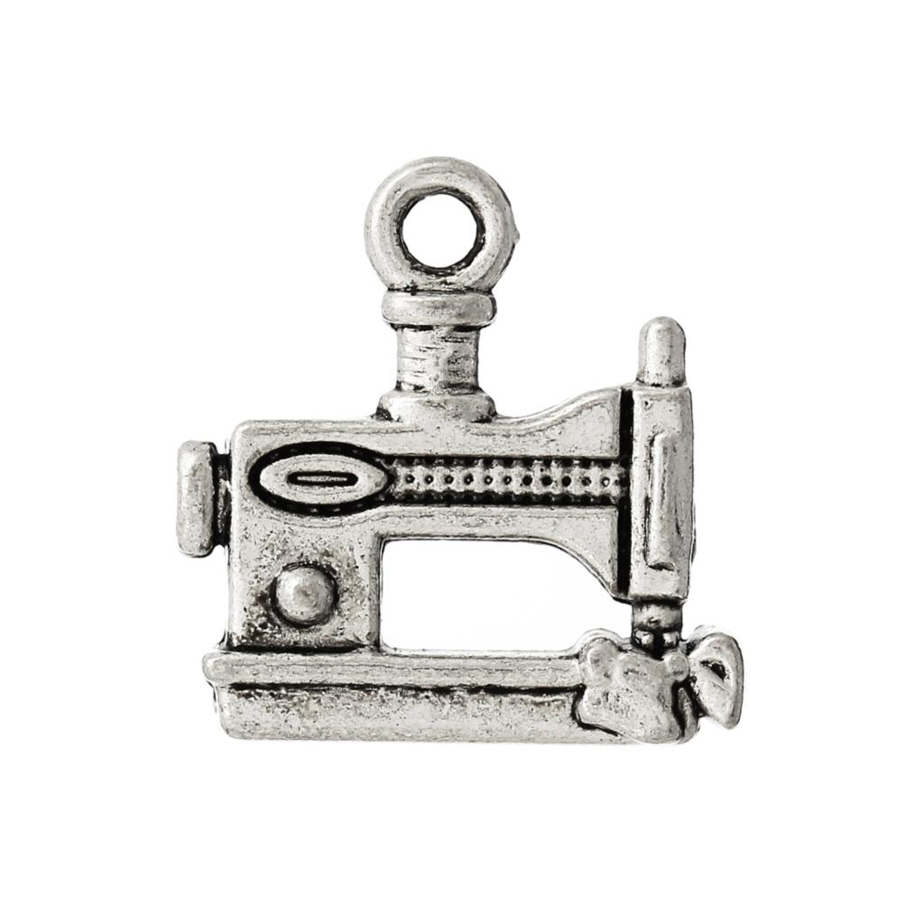 8SEASONS Zinc Alloy Charm Pendants Sewing Machine Silver Color 15mm x 15mm ,1 Pc 2015 new image