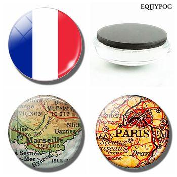 Flaga francuska 30 MM lodówka magnes francja paryż marsylia Lyon ładna mapa szklana kopuła magnetyczna naklejka na lodówkę Home Decoration