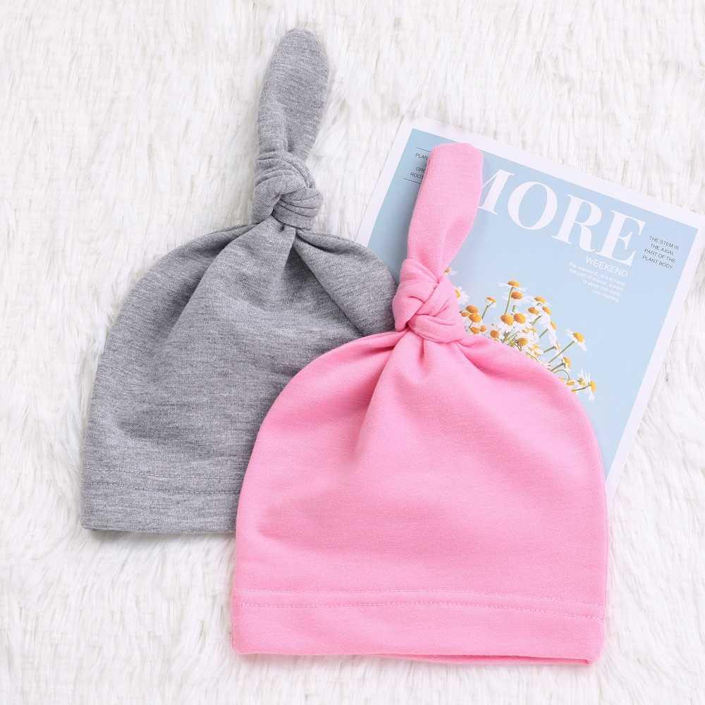 04ae5022222 ... 100% Cotton Newborn Baby Knot Beanies Boys Girls Sleep Caps Unisex Baby  Hats Lovely Infant ...