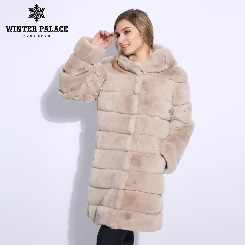 Normcore del coniglio cappotto di pelliccia O-Collo di pelliccia del cappotto di Modo di nuovo del coniglio del rex cappotto di pelliccia casual reale del coniglio di rex cappotto di pelliccia di Medio 2847M90