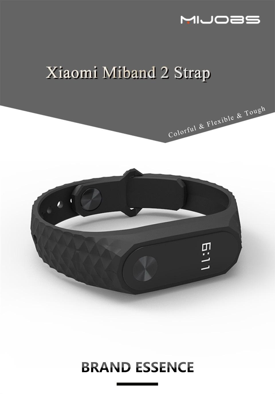 Mijobs Xiaomi Mi Band 2 Strap Silicone Strap Bracelet Replacement Wristband Smart Band Accessories Colorful wrist Strap 2