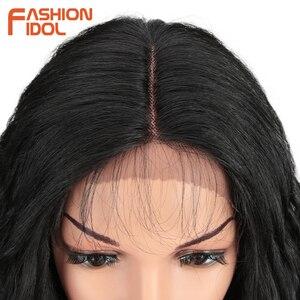 Image 5 - ファッションアイドル 28 インチの毛、合成レースフロントかつら黒人女性のためのソフトルース波の毛オンブル茶色ピンク熱にくい髪