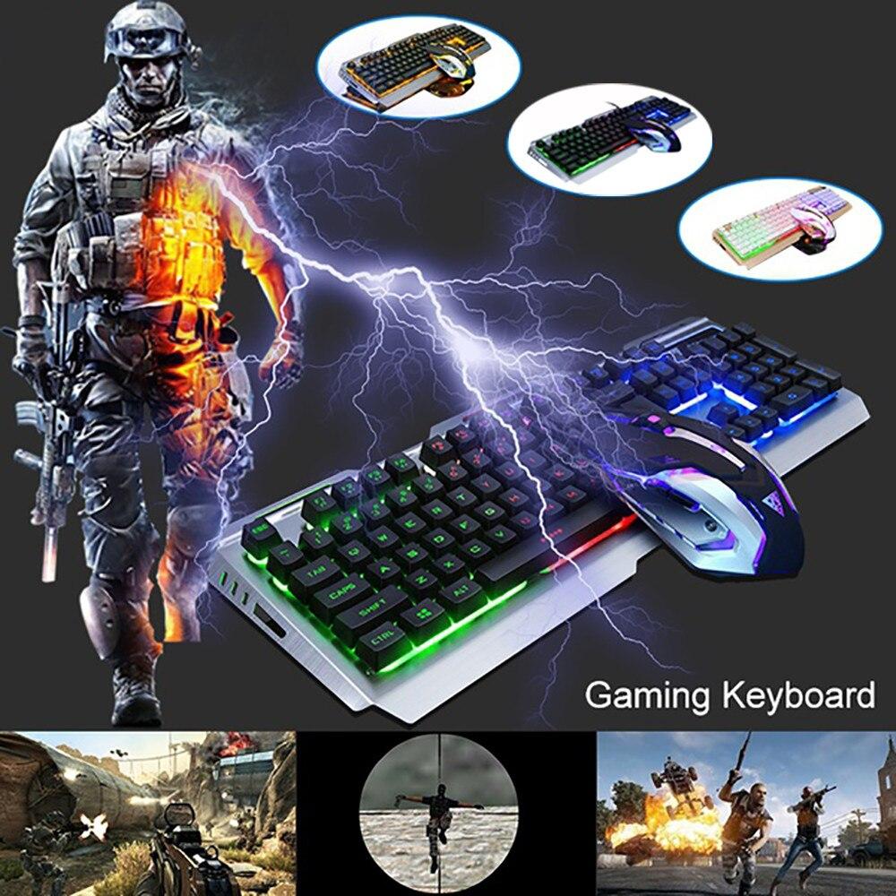 V1 filaire rétro-éclairage éclairé ergonomique USB clavier de jeu + 3200 DPI souris optique Kit PC Gamer ordinateur portable jeu ensemble