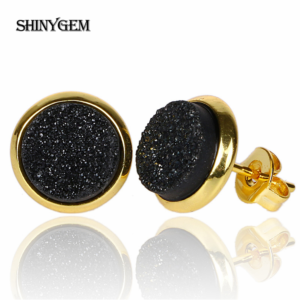 ShinyGem New Fashion Crystal Stud Earrings Gold Plating Colorful Druzy Earrings 8mm Round Natural Stone Small Earrings For Women in Stud Earrings from Jewelry Accessories