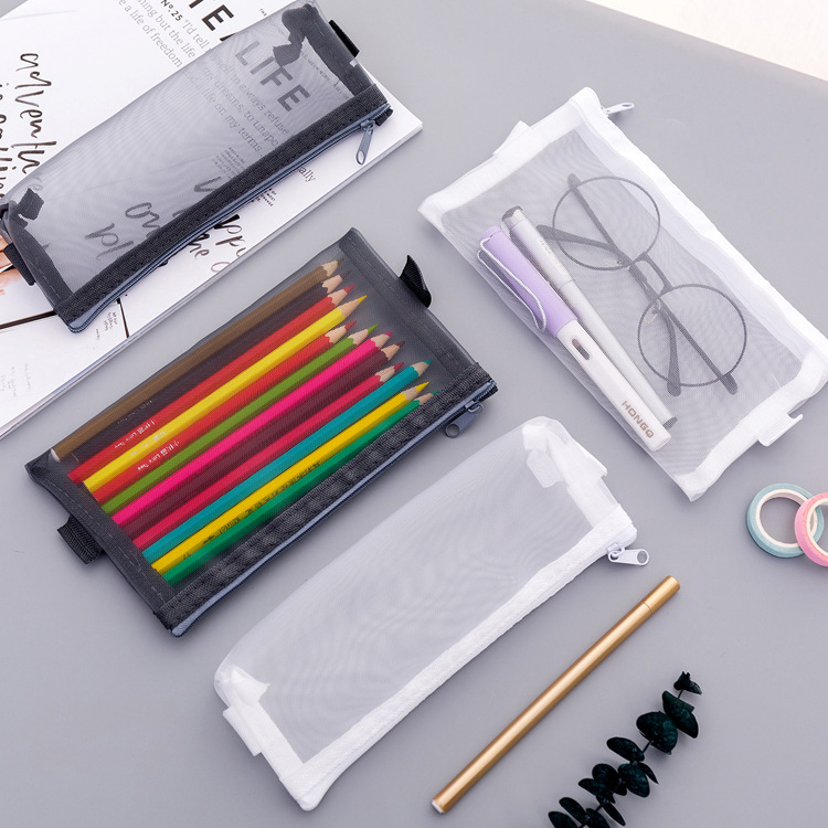 Simple Transparent Mesh Pencil Case Cute Nylon Pen Bag Box Stationery Pouch For Kids Gift Office School Supplies Zakka