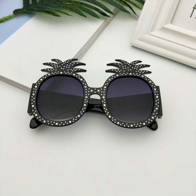 MINCL/New Hot Hawaiian Beach Sunglasses Pineapple Goggles Hen Party Evening Party Dress Up Party Crystal Sunglasses With Box LXL 2