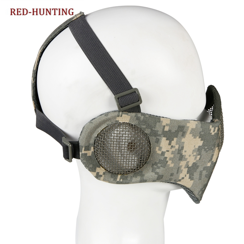 New Adjustable Foldable Half Face Lower Mask Airsoft Mesh Mask With Ear Protection For Airsoft/Hunting/Paintball