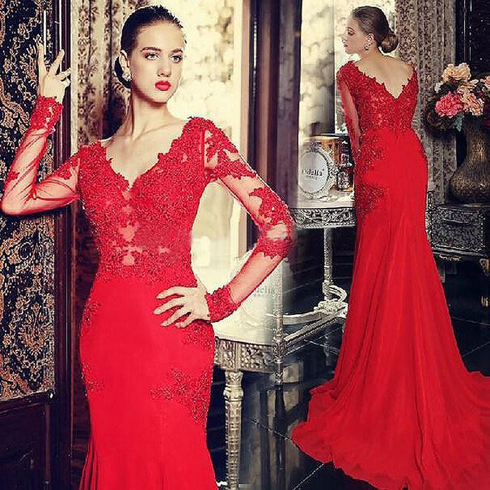 Vestidos De Fiesta 2015 Custom Made Sexy Red Mermaid Evening Dress 2015 V Neck Lace Appliques Long Sleeve Party Formal Gowns
